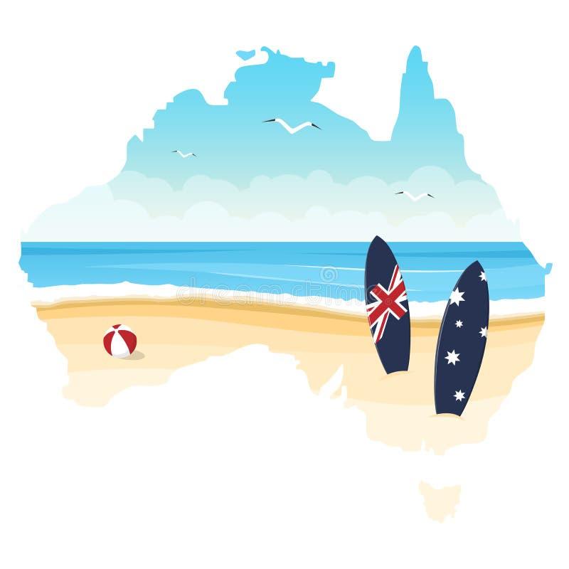 澳大利亚的等高有海洋、海滩和冲浪板的隔绝了o 皇族释放例证