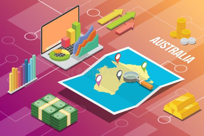 澳大利亚等量企业经济成长国家以地图和财务情况-传染媒介 皇族释放例证