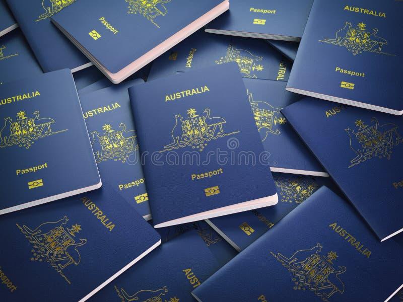 澳大利亚背景护照  移民或旅行概念 向量例证
