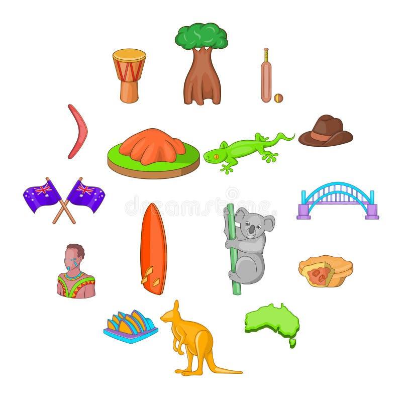 澳大利亚被设置的旅行象,动画片样式 库存例证