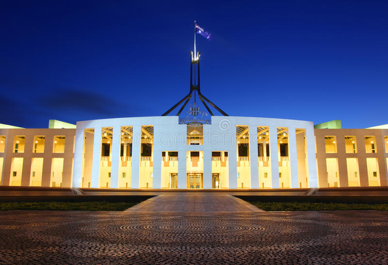 澳大利亚议会在堪培拉安置 库存照片