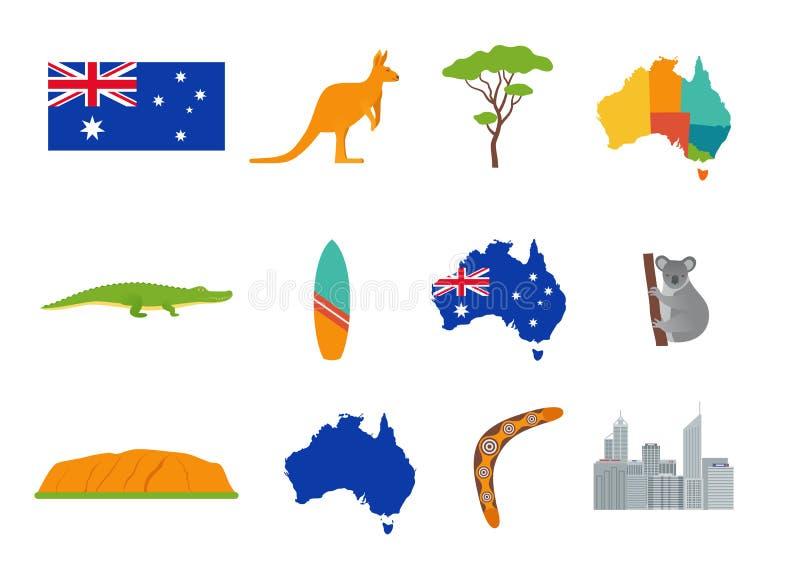 澳大利亚象 也corel凹道例证向量 设置在平的设计 向量例证