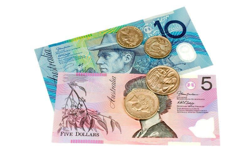 澳大利亚货币备件 库存照片
