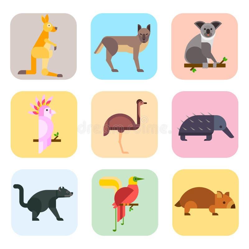 澳大利亚野生动物动画片普遍的自然字符平的样式和澳大利亚哺乳动物的澳大利亚当地森林 向量例证