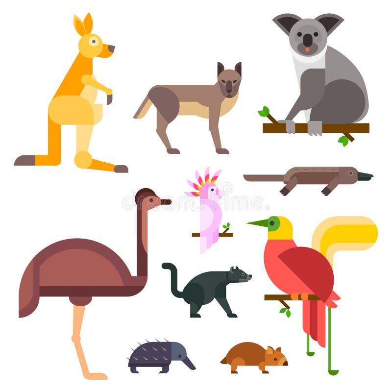 澳大利亚野生动物动画片普遍的自然字符平的样式和澳大利亚哺乳动物的澳大利亚当地森林 库存例证