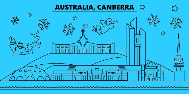 澳大利亚,堪培拉寒假地平线 圣诞快乐,新年快乐装饰了与圣诞老人的横幅 平面 皇族释放例证