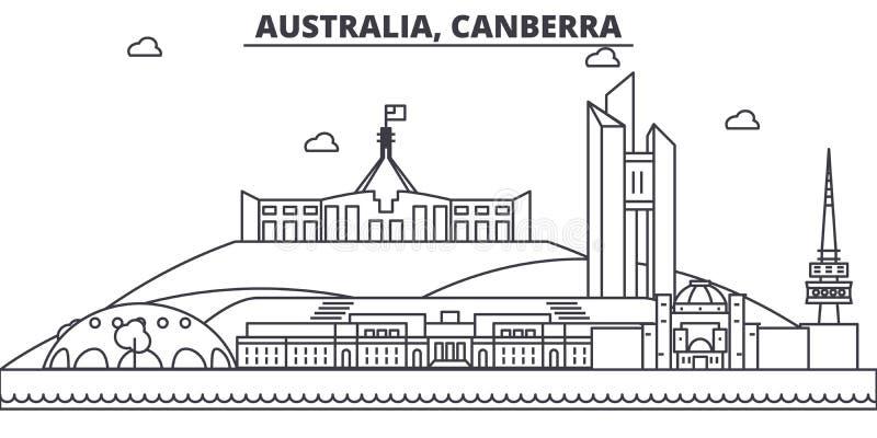 澳大利亚,堪培拉建筑学线地平线例证 与著名地标的线性传染媒介都市风景,城市视域 皇族释放例证