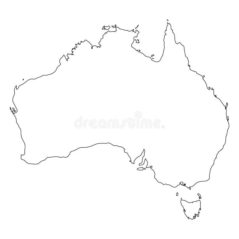 澳大利亚-国家区域坚实黑概述边界地图  简单的平的传染媒介例证 向量例证