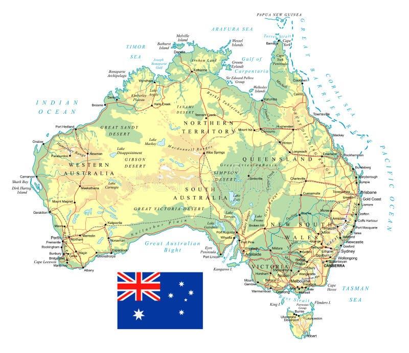 澳大利亚-详细的地形图-例证. 珀斯, 堪培拉.