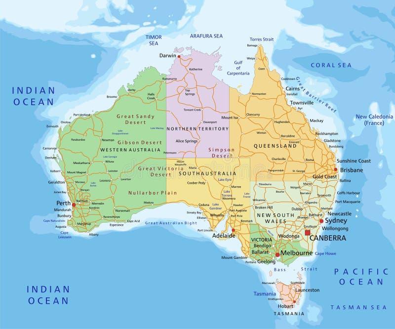 澳大利亚-高度与被分离的层数的详细的编辑可能的政治地图 向量例证
