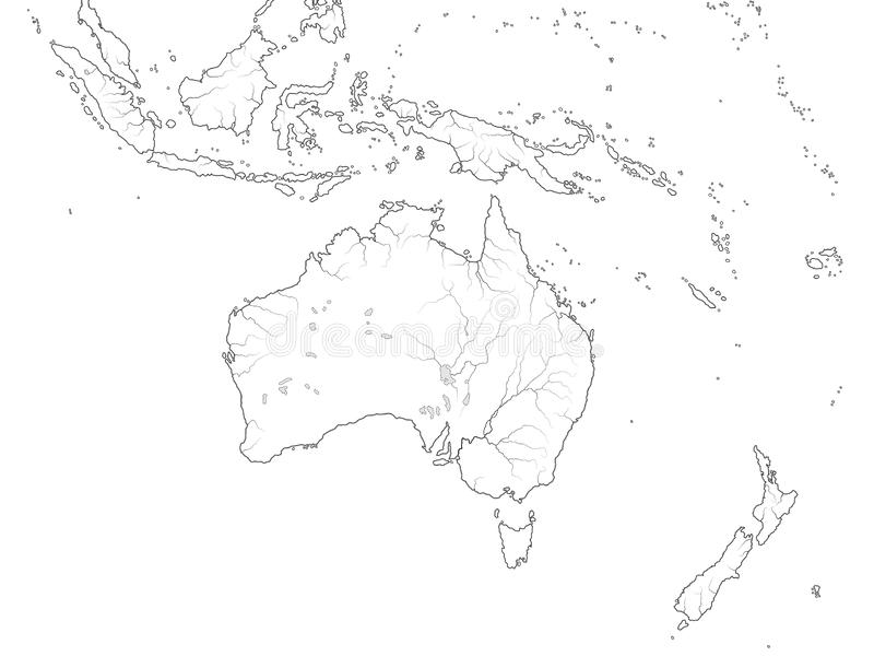 澳大利西亚地区世界地图:澳大利亚,大洋洲,印度尼西亚,波里尼西亚,太平洋 地理图 向量例证