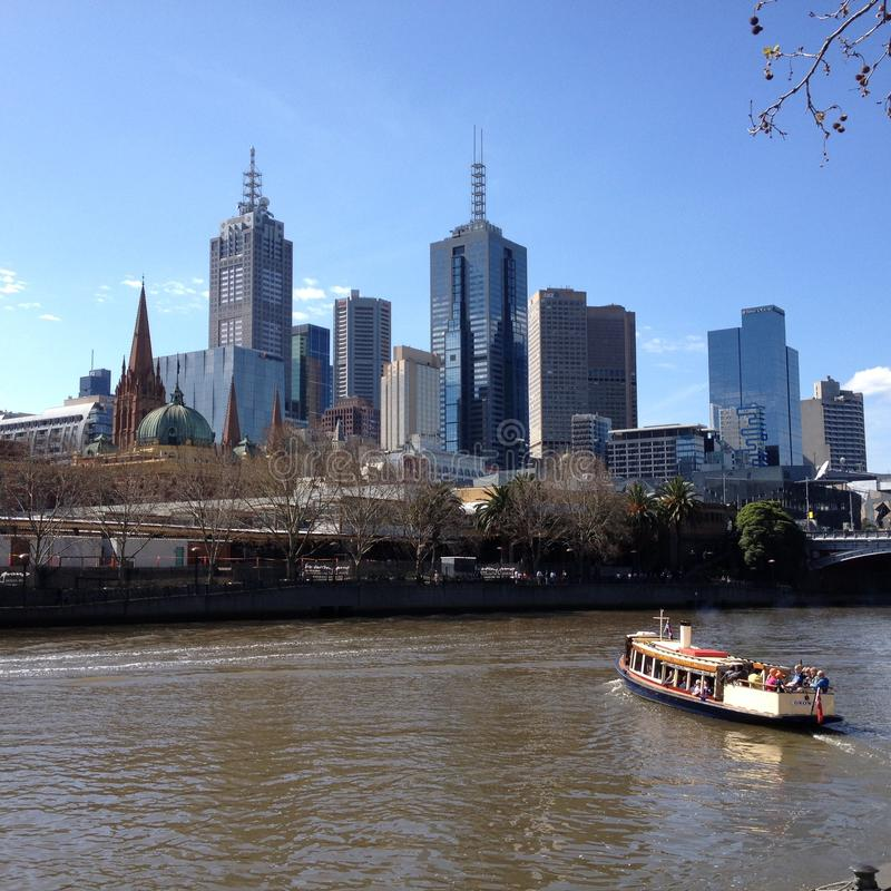 澳洲中心财务墨尔本河地平线视图yarra 库存图片