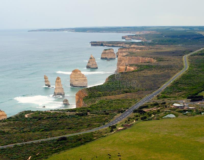 澳洲巨大直升机海洋路视图 库存图片