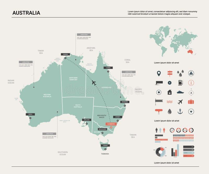 澳洲映射向量 与分裂、城市和首都堪培拉的高详细的地图 政治地图,世界地图,infographic 库存例证