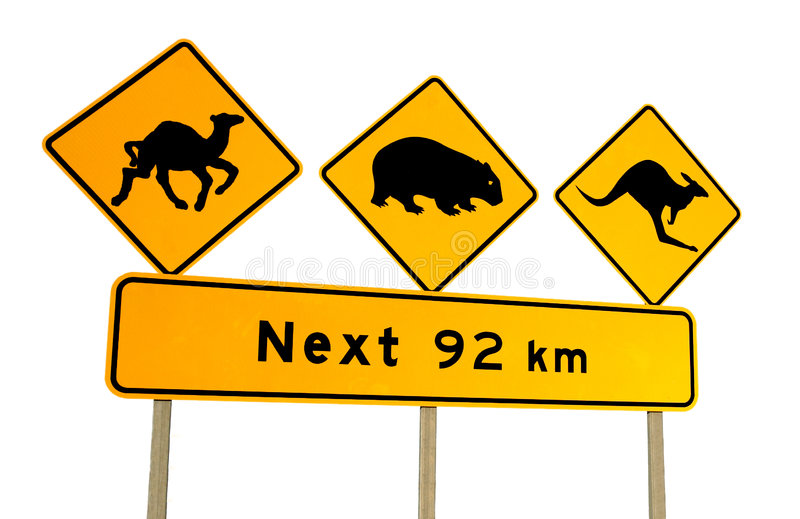 澳洲骆驼袋鼠符号警告wombat 免版税图库摄影