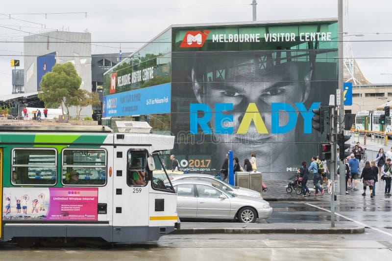 澳网广告签到墨尔本CBD 库存图片