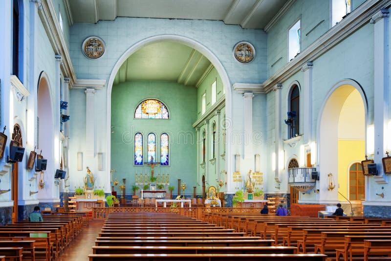 澳门大教堂的内部  免版税库存图片