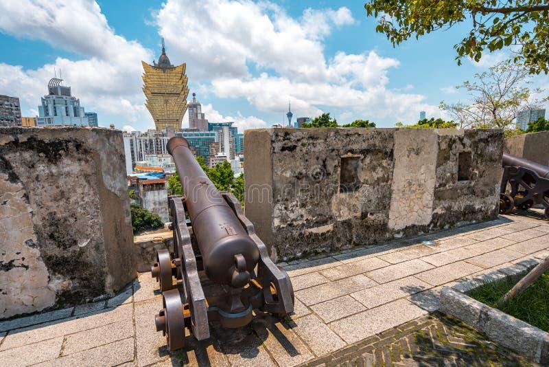 澳门,中国-从Monte de Forte历史站点的城市视图 库存图片