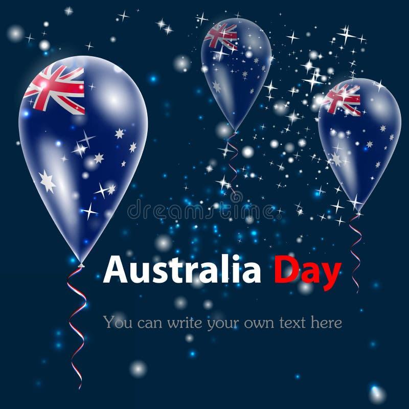 澳洲气球日标志被设置的礼品图标 标志 向量例证