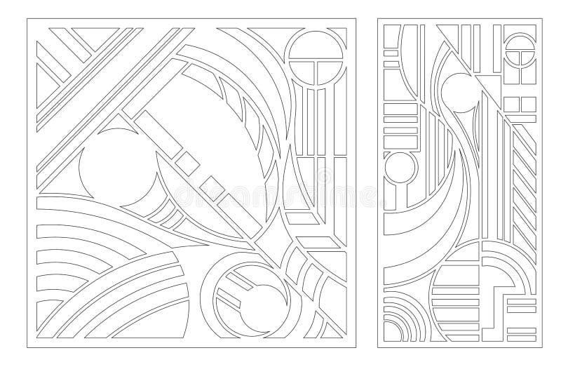 激光切割面板 一种切割用装饰卡 几何线艺术图案 比率1:2, 1:1 矢量图 皇族释放例证