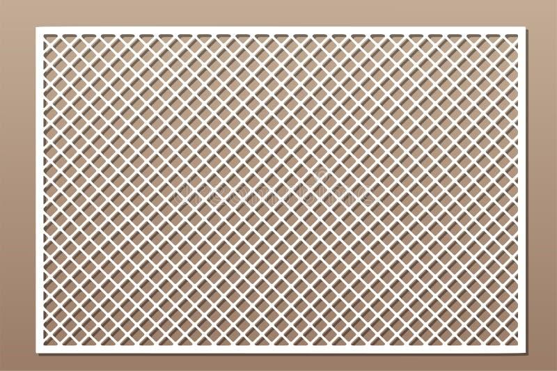 激光切割面板 切割装饰卡 几何线栅格图案 比率2:3 矢量插图 向量例证