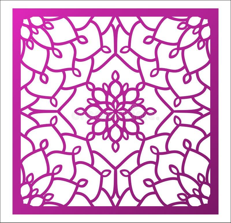 激光切口正方形盘区 与坛场的透雕细工花卉样式 皇族释放例证