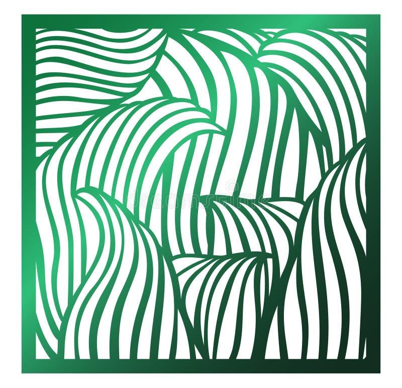 激光切口正方形盘区 与热带叶子的透雕细工花卉样式 为礼物盒剪影装饰品,墙壁艺术完善, 向量例证
