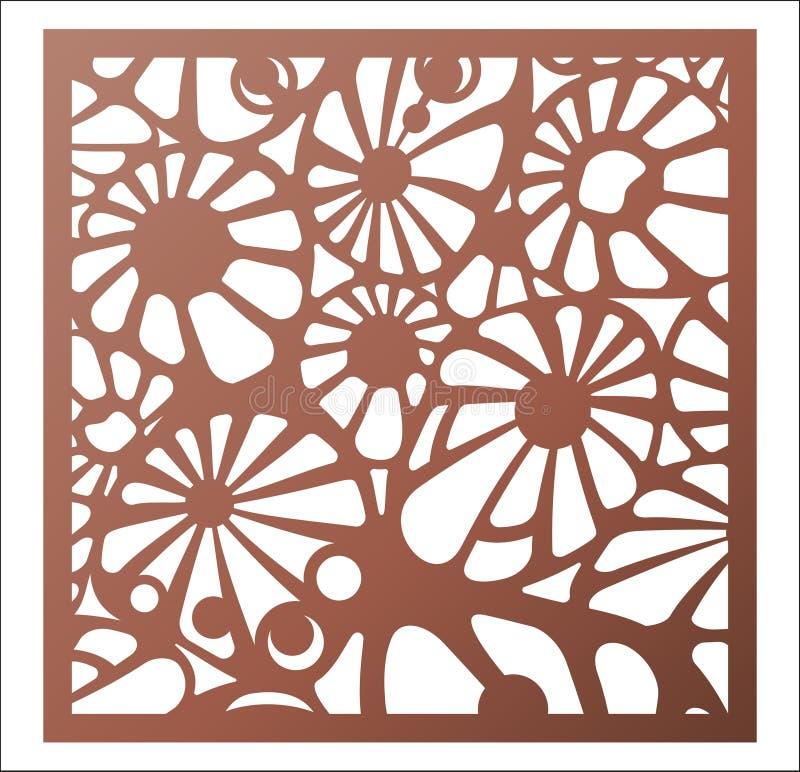 激光切口正方形盘区 抽象透雕细工花卉样式 pe 库存例证