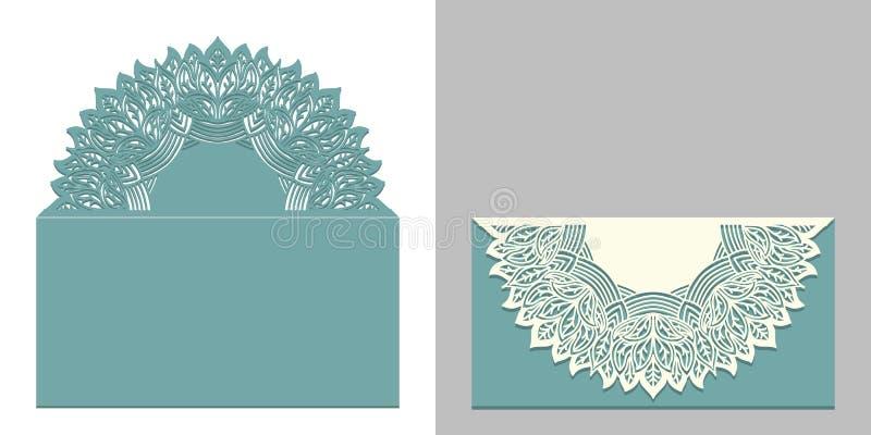 激光切开了与坛场元素的纸鞋带信封 婚姻的邀请或卡片设计的切口模板 向量例证