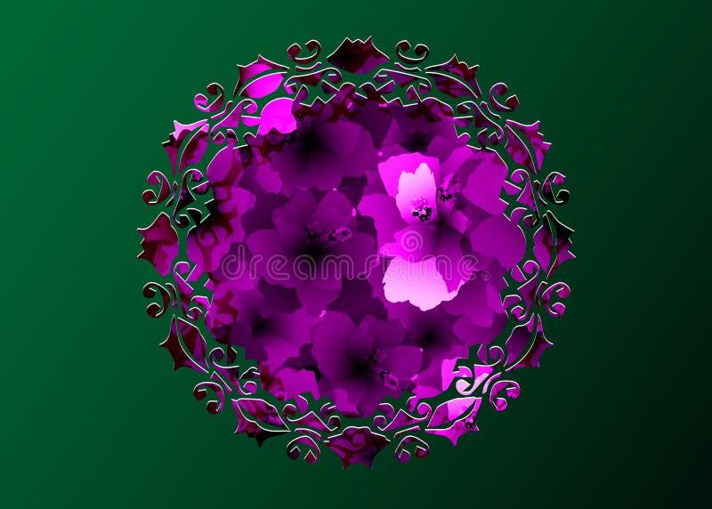 激光切开了紫色花圆的边界坛场,与开花的木槿花的桃红色花卉样式,植物的印刷品纺织品 皇族释放例证