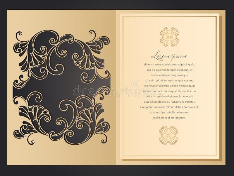 激光削减了与鞋带样式的婚姻的邀请模板在葡萄酒样式 与华丽抽象装饰品的信封为 皇族释放例证