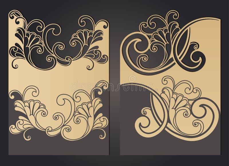 激光削减了与鞋带样式的婚姻的邀请模板在葡萄酒样式 与华丽抽象装饰品的信封贺卡的 皇族释放例证