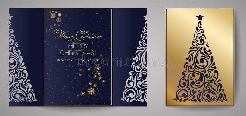 激光削减了圣诞卡片的模板,党的方形的邀请与纸圣诞树保险开关  向量例证
