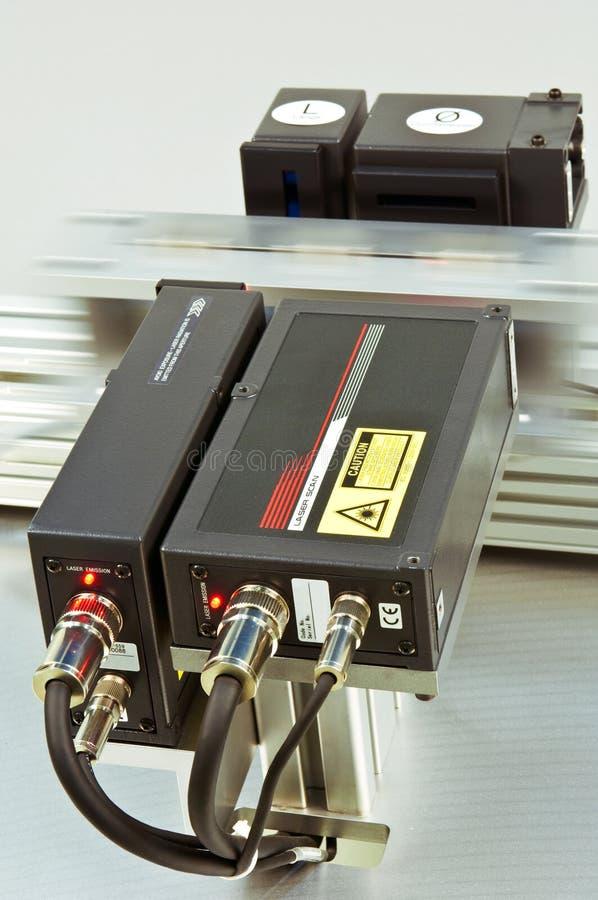 激光测微表扫描 库存图片