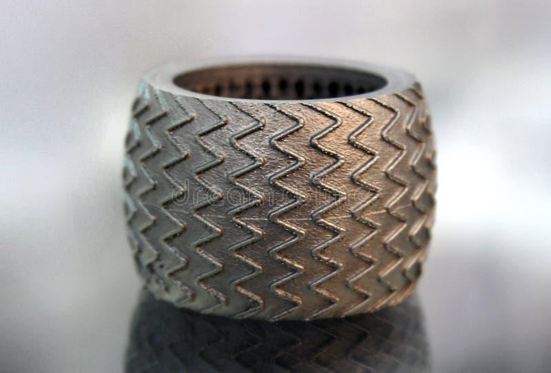 激光焊接得到的金属原型 库存图片