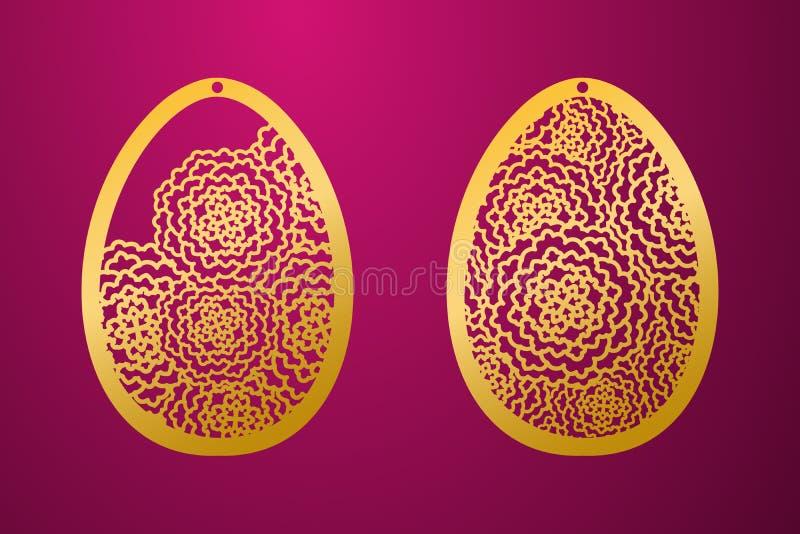 激光被切的愉快的复活节彩蛋 传染媒介钢板蜡纸装饰复活节彩蛋 库存例证
