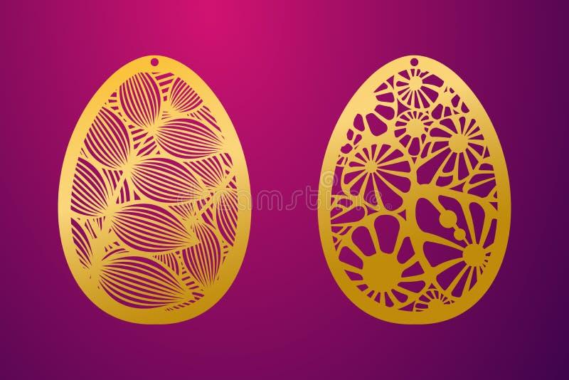 激光被切的愉快的复活节彩蛋 传染媒介钢板蜡纸装饰复活节彩蛋 皇族释放例证