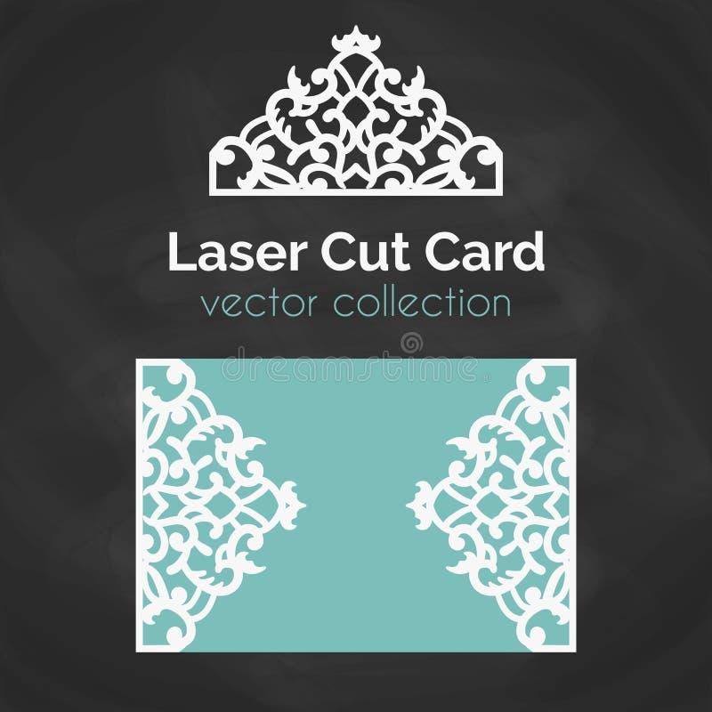 激光裁减卡片 激光切口的模板 与抽象装饰的保险开关例证 冲切的婚姻的邀请 皇族释放例证