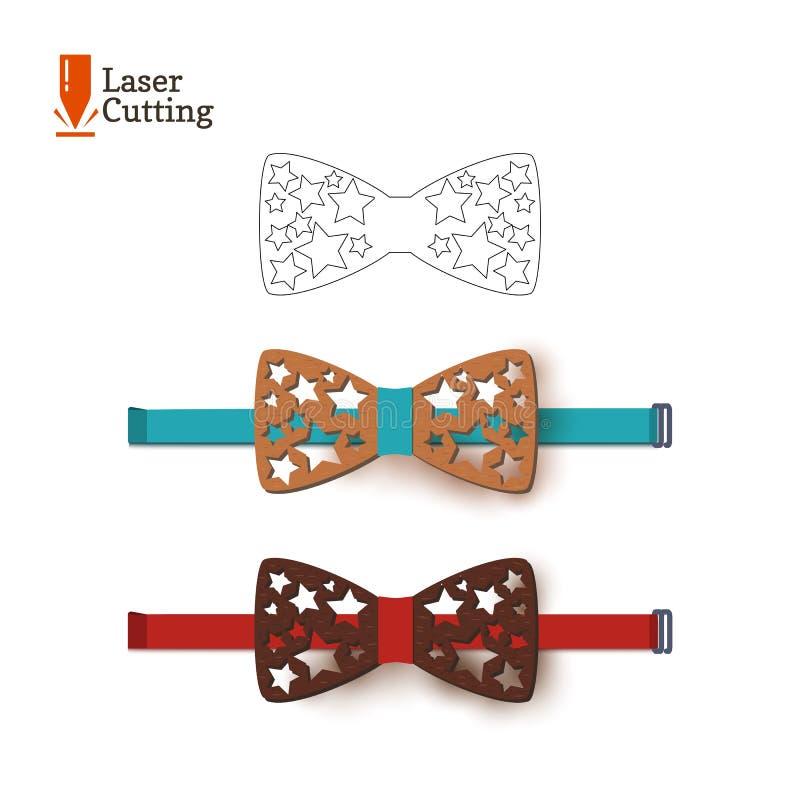激光裁减弓领带模板 导航切开的一个蝶形领结剪影与在车床的星由木头,金属,塑料制成 想法o 皇族释放例证