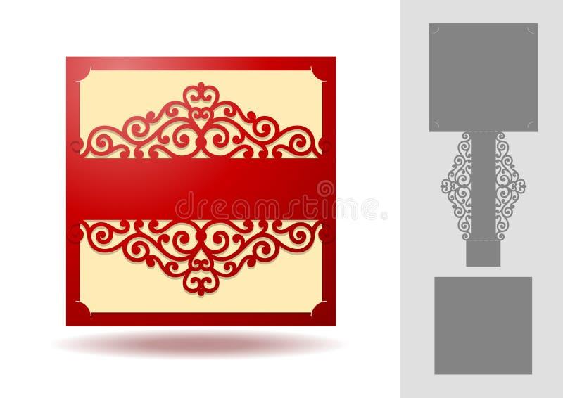 激光裁减的美好的邀请模板 库存例证