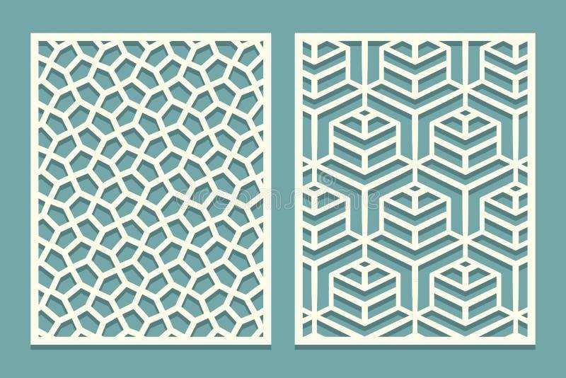 激光裁减的集合装饰卡片 几何马赛克线样式 削减装饰ajour边界样式的激光 设置婚礼I 皇族释放例证