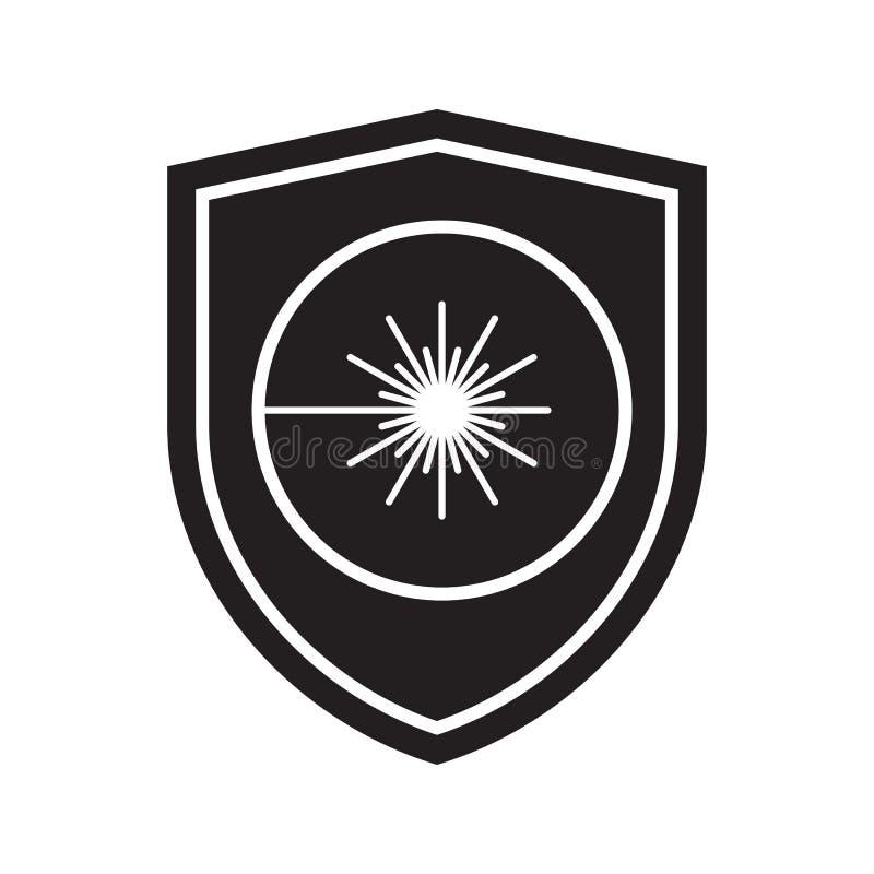 激光辐射盾象  防御、保护或者安全标志,标志 向量例证