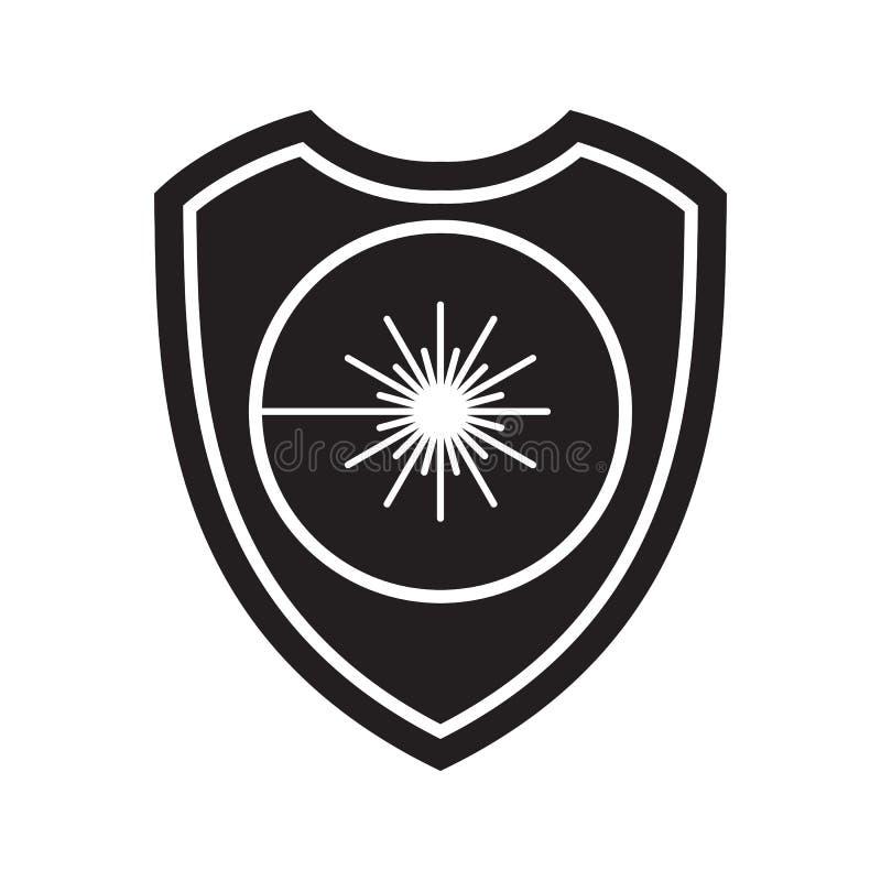 激光辐射盾象  防御、保护或者安全标志,标志 库存例证