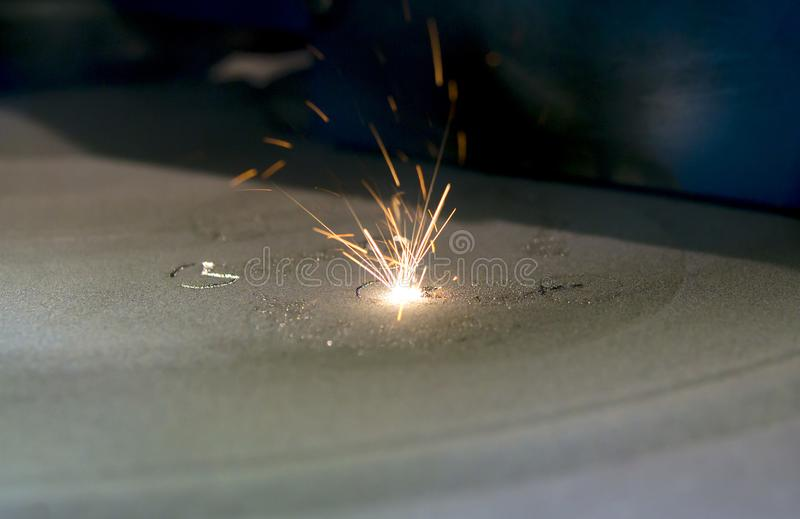 激光金属的焊接机器 3D打印机打印金属 免版税库存照片