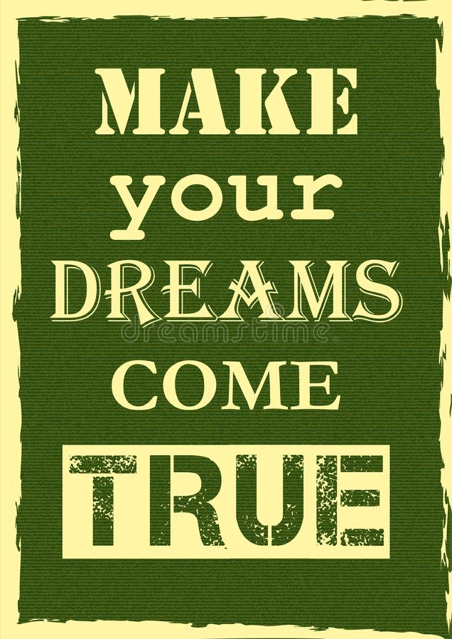 激动人心的刺激行情做您的梦想实现传染媒介海报设计 库存例证