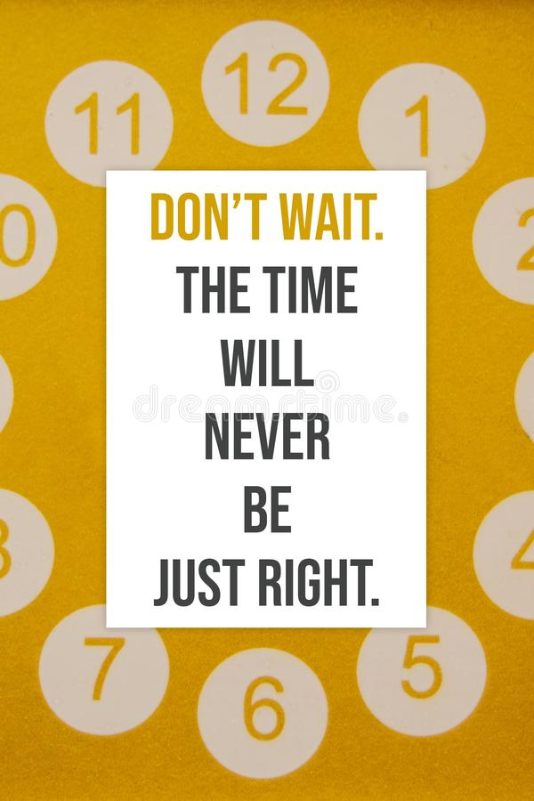 激动人心的海报不等待 时间不会是公正不错 免版税库存照片
