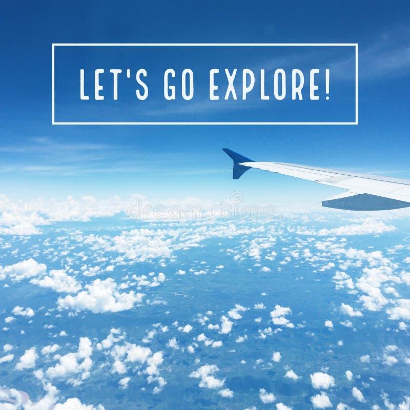 激动人心的诱导旅行行情`让` s去探索` 免版税库存照片
