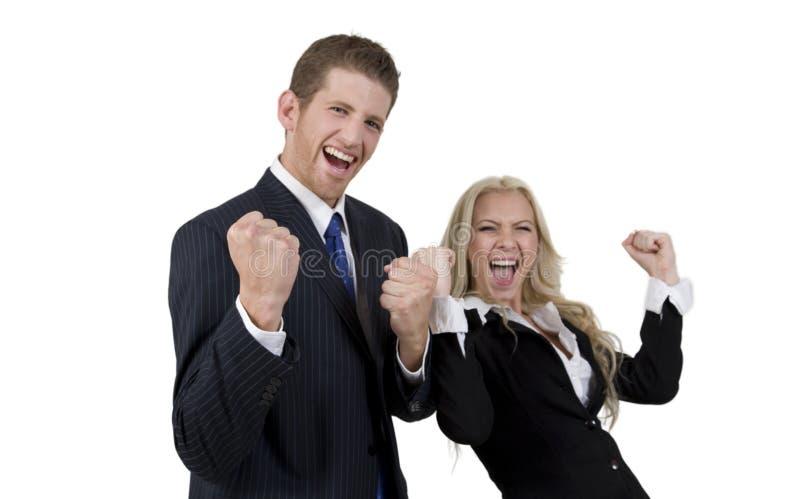 激动的企业夫妇 库存照片