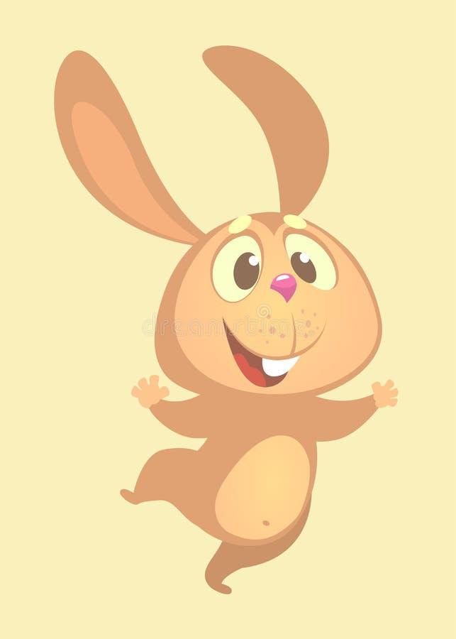 激动的动画片逗人喜爱小兔跳舞 平的明亮的颜色被简化的传染媒介例证 皇族释放例证