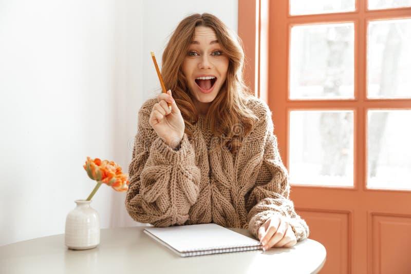 激动的妇女画象毛线衣的有长的棕色头发sittin的 库存照片
